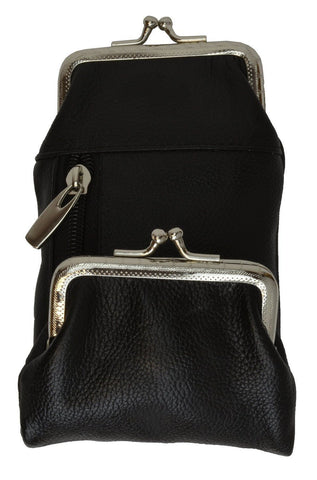 Genuine Leather Case with a Kiss-lock Closure Change Purse