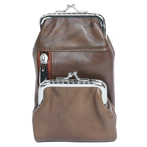Genuine Leather Case with a Kiss-lock Closure Change Purse - WholesaleLeatherSupplier.com  - 2