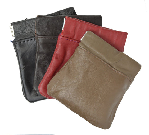 Classic Leather Squeeze Coin Pouch- Burgundy - WholesaleLeatherSupplier.com