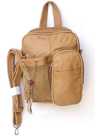 Leather Backpack - Crossbody Bag Style Brown Color - WholesaleLeatherSupplier.com  - 4