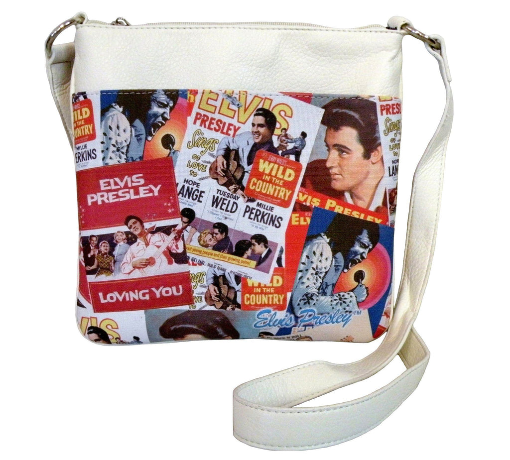 Licensed Elvis Presley Multicolor record labels and portraits crossbody