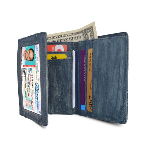 Waterproof Eel Skin Trifold Leather Wallet
