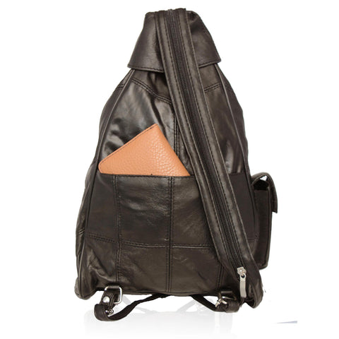 Genuine Leather 4 Compartments Women Backpack Handbag - Black