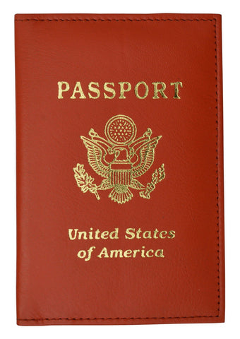 Vegan Leather USA Logo Passport Holder - Brown - WholesaleLeatherSupplier.com  - 6