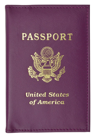 Vegan Leather USA Logo Passport Holder - Orange - WholesaleLeatherSupplier.com  - 3