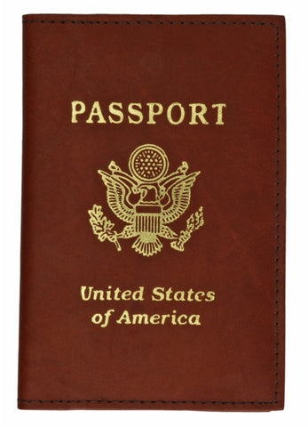 Vegan Leather USA Logo Passport Holder - Orange - WholesaleLeatherSupplier.com  - 2