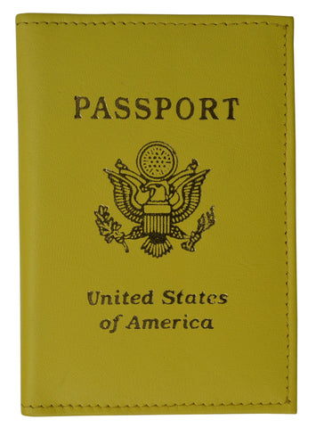Vegan Leather USA Logo Passport Holder - Orange - WholesaleLeatherSupplier.com  - 4