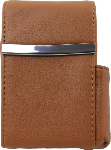 Genuine Leather Flip-top Cigarette Case with Pocket Lighter