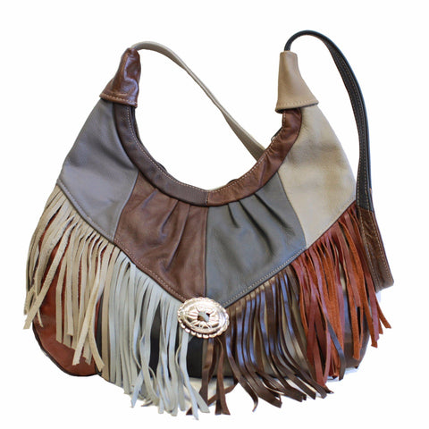 AFONiE Fringe Hobo Bag - Soft Genuine Leather Multi Color