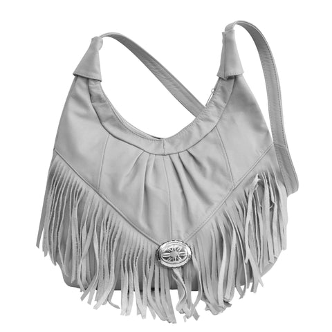 AFONiE Fringed Leather Bag - Soft Genuine Leather Grey Color