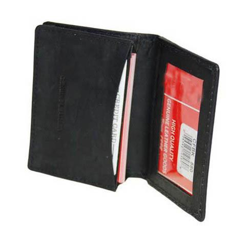 Men's Genuine Leather Bi-Fold Wallet Supplier - Black