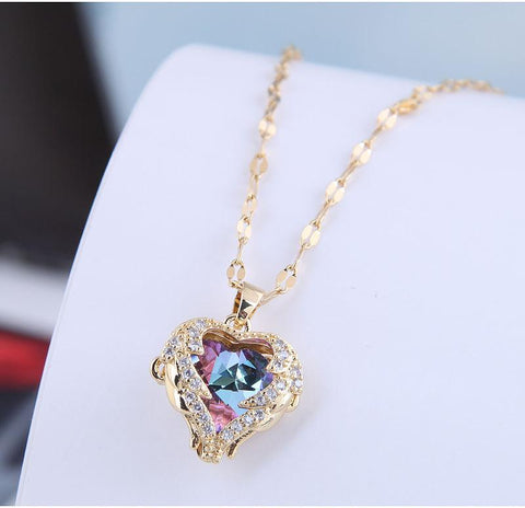 Colorful Crystal Heart Shaped Necklace Covered With Angel Wings