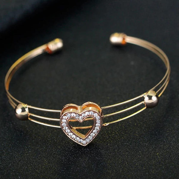 Gold Cuff Bracelet For Women With Heart Pendant