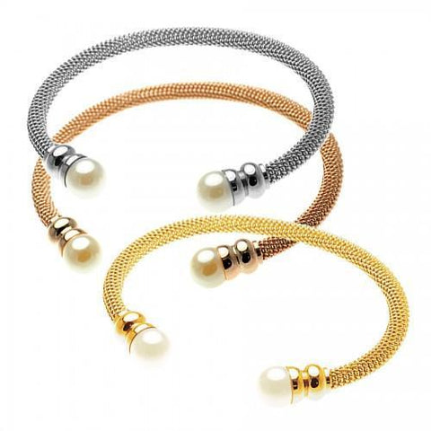 Grade 316L Stainless Steel Mesh Torque Bangle with Faux Pearl Tips