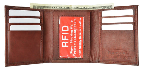 Mens Trifold Leather Wallet RFID Blocking - WholesaleLeatherSupplier.com  - 2