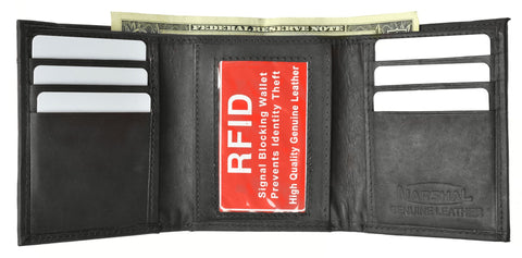 Mens Trifold Leather Wallet RFID Blocking - WholesaleLeatherSupplier.com  - 5