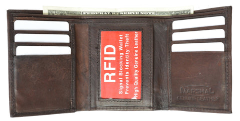 Mens Trifold Leather Wallet RFID Blocking - WholesaleLeatherSupplier.com  - 3