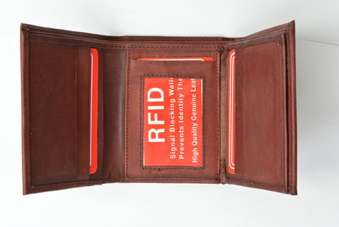 RFID Men's Trifold Leather Wallet RFID Blocking - WholesaleLeatherSupplier.com  - 7