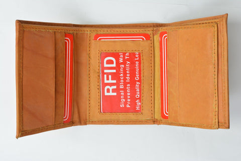 RFID Men's Trifold Leather Wallet RFID Blocking - WholesaleLeatherSupplier.com  - 8