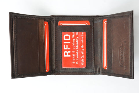 RFID Men's Trifold Leather Wallet RFID Blocking