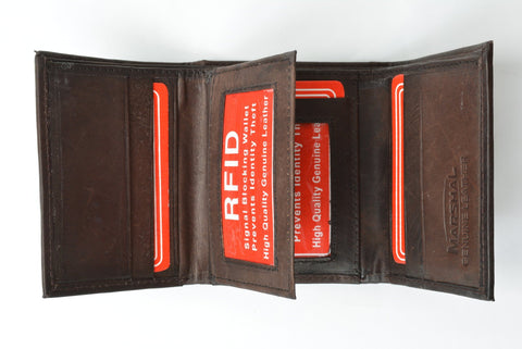 RFID Men's Trifold Leather Wallet RFID Blocking - WholesaleLeatherSupplier.com  - 4