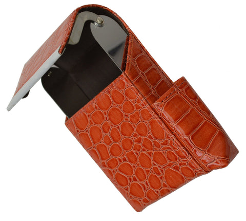 Unisex Croco-Textured Genuine Leather Flip-Top Case - WholesaleLeatherSupplier.com