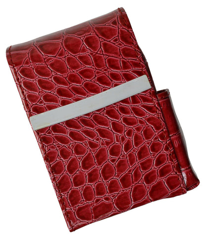 Unisex Croco-Textured Genuine Leather Flip-Top Cigarette Case - WholesaleLeatherSupplier.com  - 4