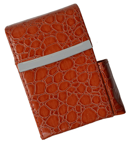 Unisex Croco-Textured Genuine Leather Flip-Top Cigarette Case - WholesaleLeatherSupplier.com  - 2