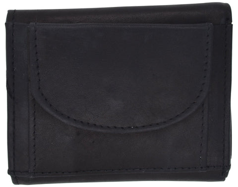AFONiE Men Trifold Snap Closure Leather Wallet