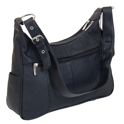 Soft Leather Buckle Accent Classic Black Purse - WholesaleLeatherSupplier.com  - 2