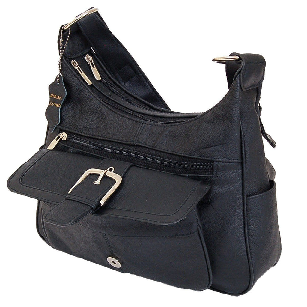 Soft Leather Buckle Accent Classic Black Purse