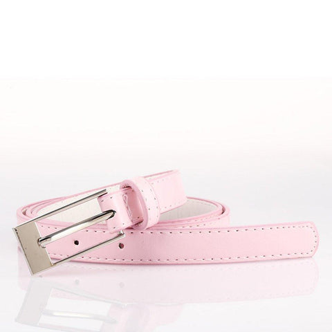 Ladies Bonded Leather Belt Top Stitch Rectangular Buckle Pink