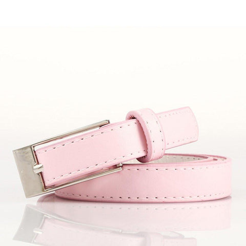 Ladies Bonded Leather Belt Top Stitch Rectangular Buckle Red Color - WholesaleLeatherSupplier.com  - 35