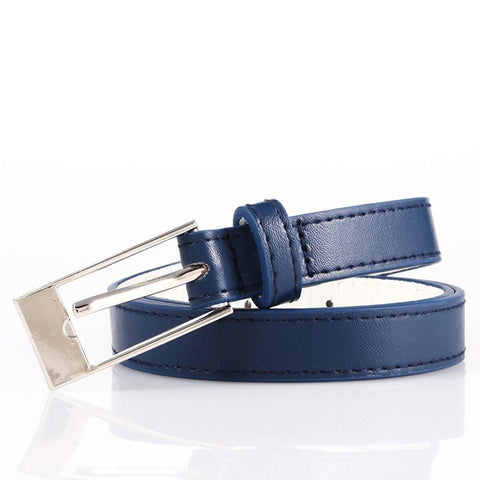 Ladies Bonded Leather Belt Top Stitch Rectangular Buckle Blue Color