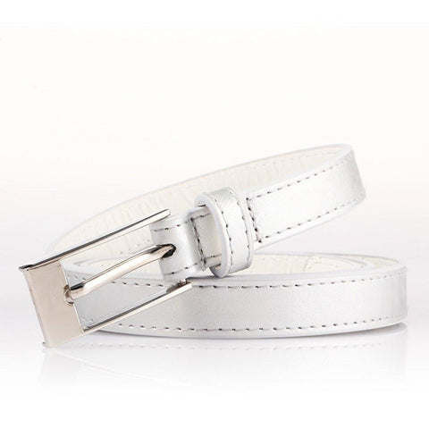 Ladies Bonded Leather Belt Top Stitch Rectangular Buckle Silver Color - WholesaleLeatherSupplier.com  - 18