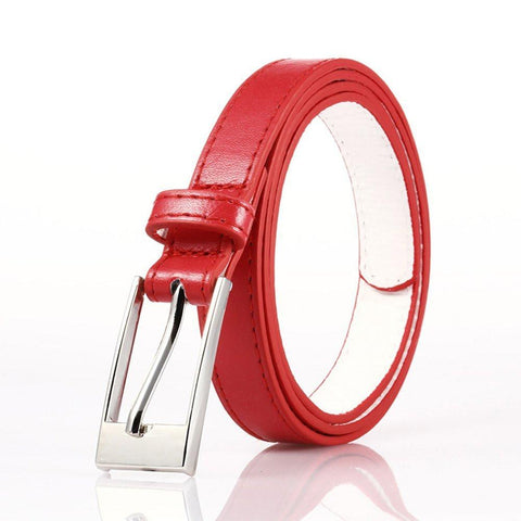 Ladies Bonded Leather Belt Top Stitch Rectangular Buckle Red Color - WholesaleLeatherSupplier.com  - 1