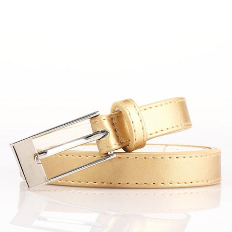 Ladies Bonded Leather Belt Top Stitch Rectangular Buckle White Color
