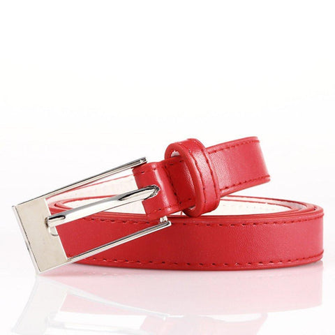 Ladies Bonded Leather Belt Top Stitch Rectangular Buckle Red Color - WholesaleLeatherSupplier.com  - 22