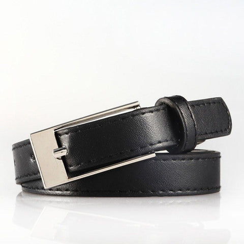 Ladies Bonded Leather Belt Top Stitch Rectangular Buckle Fuchsia Color - WholesaleLeatherSupplier.com  - 11