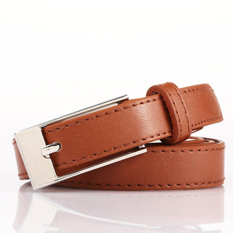 Ladies Bonded Leather Belt Top Stitch Rectangular Buckle Brown Color