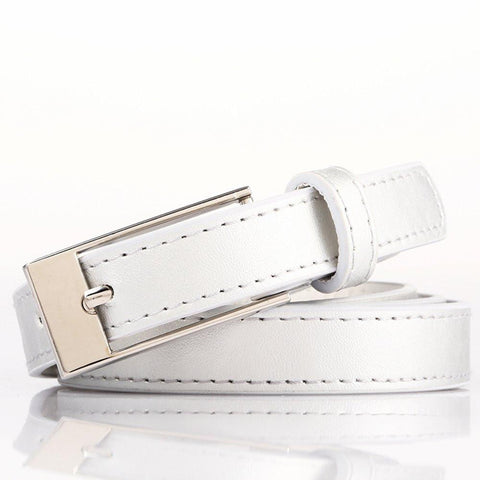 Ladies Bonded Leather Belt Top Stitch Rectangular Buckle Silver Color - WholesaleLeatherSupplier.com  - 27