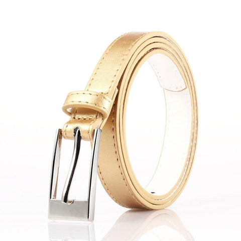 Ladies Bonded Leather Belt Top Stitch Rectangular Buckle Gold Color - WholesaleLeatherSupplier.com  - 1