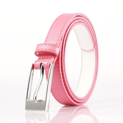 Ladies Bonded Leather Belt Top Stitch Rectangular Buckle Gold Color - WholesaleLeatherSupplier.com  - 3