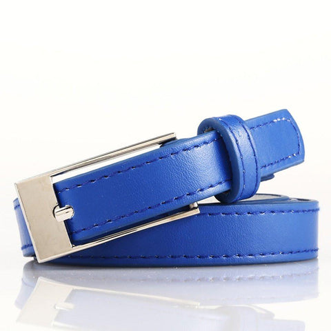 Ladies Bonded Leather Belt Top Stitch Rectangular Buckle Gold Color - WholesaleLeatherSupplier.com  - 31