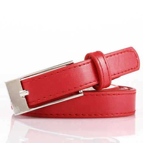 Ladies Bonded Leather Belt Top Stitch Rectangular Buckle Silver Color - WholesaleLeatherSupplier.com  - 23