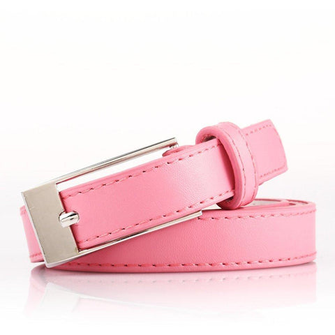 Ladies Bonded Leather Belt Top Stitch Rectangular Buckle Fuchsia Color - WholesaleLeatherSupplier.com  - 5