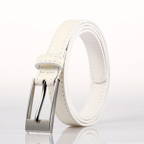 Ladies Bonded Leather Belt Top Stitch Rectangular Buckle Gold Color - WholesaleLeatherSupplier.com  - 4