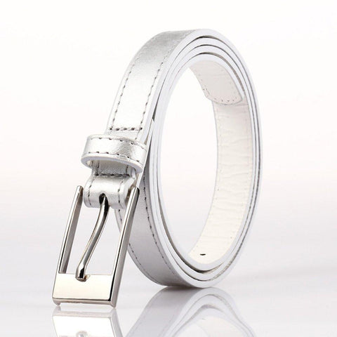 Ladies Bonded Leather Belt Top Stitch Rectangular Buckle Silver Color