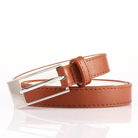 Ladies Bonded Leather Belt Top Stitch Rectangular Buckle Gold Color - WholesaleLeatherSupplier.com  - 26