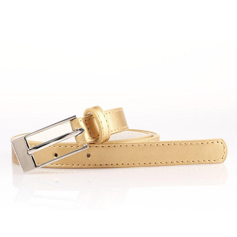 Ladies Bonded Leather Belt Top Stitch Rectangular Buckle Gold Color